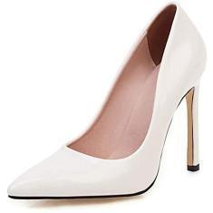 Imagem de PLAYH Sapatos femininos de salto alto bico fino, salto alto stiletto 11 cm PU sapatos de microfibra couro envernizado sapatos de formatura modernos (cor: , tamanho: 34)