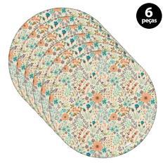 Imagem de Sousplat Mdecore Floral 32x32cm Bege 6pçs