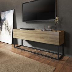 Imagem de Rack Bancada Para Tv Design Industrial Aço E Madeira Carraro