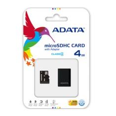 Cartão de Memória Micro SDHC com Adaptador Adata 4 GB AUSDH4GCL4-RM3BKBL