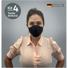 Imagem de Kit 4 Máscaras Tecido Antivirus Filtragem Semelhante Mascara N95 Lavável Anatômica Íons De Prata Unissex
