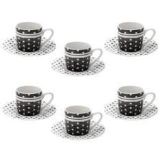 Imagem de Conjunto 6 Xícaras Para Café de Porcelana Black Dots 90ml
