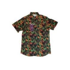 Imagem de Camisa Masculina Hocks Floral Skatista  Laranja Verde