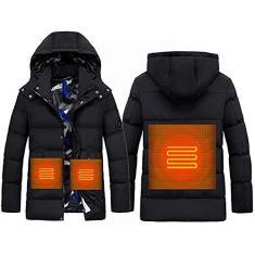 Imagem de PLAYH Jaqueta masculina aquecida de inverno colete impermeável USB casaco com capuz aquecimento elétrico para esportes ao ar livre esqui caminhada jaqueta (cor: , tamanho: M)