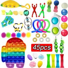 Imagem de 1/4/45pcs Push Pop Fidget Rainbow Pioneer Stress Relief Toys Kit