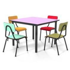 Imagem de Conjunto Escolar 80x80cm Juvenil Colorido Mesa Uva