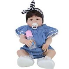 Imagem de Bebê Reborn Menina 100% Silicone Boneca Realista Vestido  55cm 1,6 kg #016AS