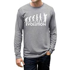 Imagem de TeeStars – Evolução do golfe – Humor do golfista – Camiseta de manga comprida engraçada jogador de golfe, , S