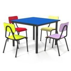 Imagem de Conjunto Escolar 80x80cm Juvenil Colorido Mesa  Real