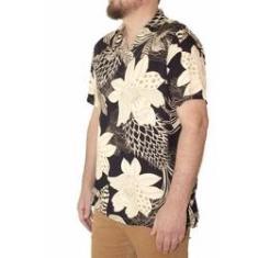 Imagem de Camisa Polo Masculina Viscose Estampa Floral Dark /Bege