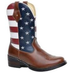 Imagem de Bota Botina Texana Americana Eua Masculina Couro Legítimo Bico Redondo