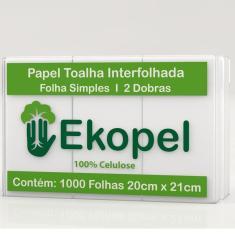 Imagem de Papel Toalha Interfolha 2 Dobras 20x21cm PT 1000 FL Ekopel