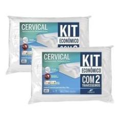 Imagem de Kit 2 Travesseiro Cervical Ortopédico Lavável Fibrasca