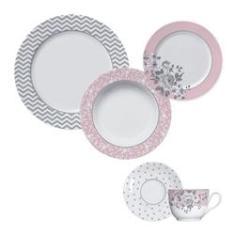 Imagem de Aparelho de Jantar e Chá 30 Peças de Porcelana - 6 Pratos Raso, 6 Pratos Fundo, 6 Pratos de Sobremesa, 6 Xícaras de Chá