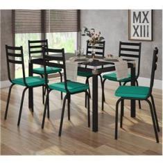 Imagem de Conjunto Sala de Jantar Mesa 140cm Tampo de vidro e 6 Cadeiras Malva Artefamol
