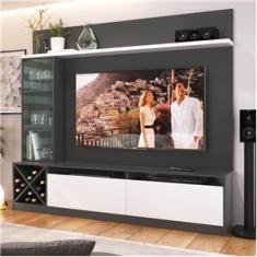 """Imagem de Painel Home para Tv 60"""" com 3 Portas Grafite e  Lilies Móveis"""