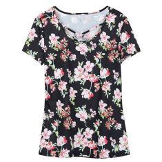 Imagem de Moda Mulheres Floral Imprimir T-shirt mangas curtas Cruz Black 5xl