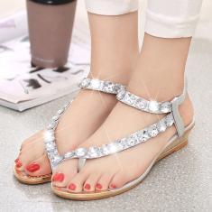 Imagem de Sandálias femininas de praia moda verão strass sapatos baixos sandálias respiráveis