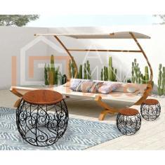 Imagem de 2 Bancos Arabesco De Madeira E Ferro Garden Seat Decoração