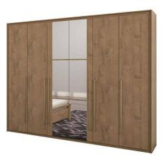Guarda-Roupa Casal 6 Portas Gavetas com Espelho Reali New Móveis Lopas