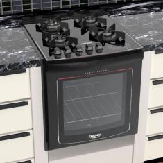 Fogão de Embutir Dako Turbo Glass 4 Bocas Acendimento Superautomático Grill