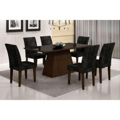 Imagem de Conjunto De Mesa De Jantar Luna Ii Com Vidro E 6 Cadeiras Grécia Suede Castor E