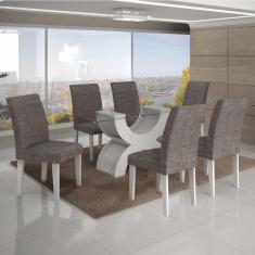 Imagem de Conjunto Sala De Jantar Mesa Tampo Vidro 160Cm 6 Cadeiras Olímpia New Leifer /Linho