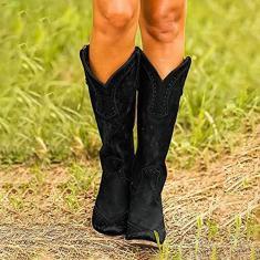 Imagem de PLAYH Botas Femininas de Ciclismo Rebites Salto Grosso Cowgirl Botas de Cavalgar Femininas Botas de Cowboy Country Botas de Cavaleiro (Cor: , Tamanho: 40)