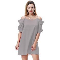 Imagem de Vestido feminino de verão de chiffon com saia de manga curta, , XXL (US-Size 12)