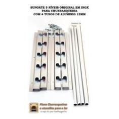 Imagem de Suporte Churrasqueira 5 Níveis Inox Com 4 Tubos Alum 75Cm