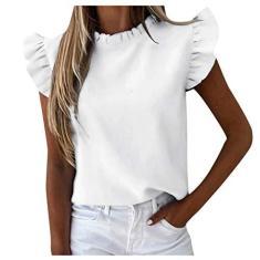 Imagem de Camisetas femininas de manga curta com babados e blusa feminina casual para o verão, , M
