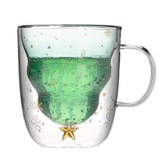 Imagem de Copo de vidro para árvore de natal, canecas para bebidas, isolamento térmico, copo de vidro de parede dupla