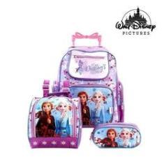 Imagem de Kit Mochila Escolar Infantil Frozen Elsa E Anna Disney Com Rodinhas
