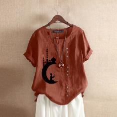 Imagem de Zanzea Feminino Verão Manga Curta Algodão Largo T-Shirts Tops de Blusa Solta de Algodão laranja L