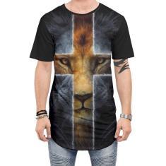Imagem de Camiseta Long line Oversized masculina Jesus leão Cruz roupa