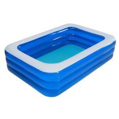 Imagem de Piscina inflável infantil 's em pvc, piscina familiar ampla externa para uso doméstico, piscina infantil de plástico reforçada para bebês 3 camadas 2,1 metros