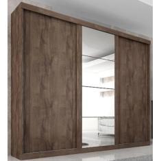 Guarda-Roupa Casal 3 Portas 6 Gavetas com Espelho Sevilha Quarta Divisão Móveis