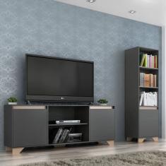 Imagem de Kit Estante Rack Benevello 2042 Para Tv Até 55 Polegadas Grafite/siena - Quiditá