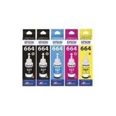 Kit 5 Refil De Tinta Epson Original T664 L380 L395 L375 L455 L475 L495 L555 L565 L656 L200 L220