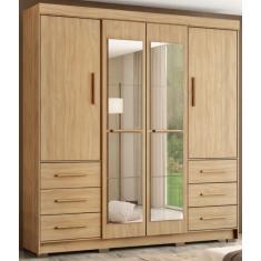 Imagem de Guarda-Roupa Casal 4 Portas 6 Gavetas com Espelho Estrela 4E Mapi Móveis