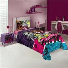 Imagem de Jogo de cama infantil com três peças estampa Monster High 1,50x2,20 - Lepper