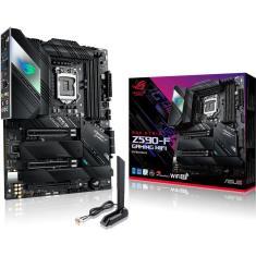 Placa Mãe Asus para Intel 1200 Z590-F ROG STRIX Gaming WIFI 4xDDR4 ATX