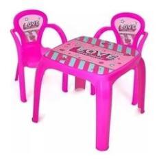 Imagem de Mesa Mesinha Infantil Com 2 Cadeiras Rosa Menina Love