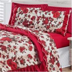 Imagem de Kit Edredom Charmy Queen 5 Peças Tecido Floral