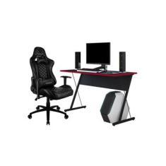 Kit Mesa Para PC Gamer Kombat Preto Vermelho e Cadeira Gamer TGC12 H01 ThunderX3 Preto - Lyam Decor