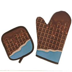 Imagem de Kit Luva Térmica Para Forno Chocolate Cozinha Criativa
