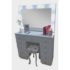 Imagem de Penteadeira Camarim com banqueta estofada, vidros, puxadores, espelho, fiação e pintura em esmalte branco - Bella Moveis