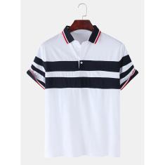 Imagem de Camisa de golfe casual masculina patchwork cor splice manga curta