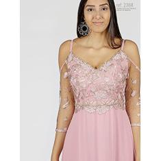 Imagem de Vestido de festa rose bordado com detalhes s - Ref. 2368