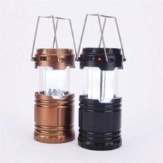 Imagem de Lampiao Solar Led Luminaria Lanterna De Emergencia Recarregavel Ou Pilhas Com Entrada USB Para Recar